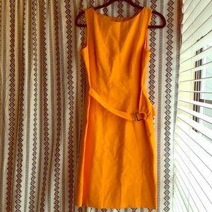 Vintage David Meister bright orange midi dress